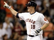 HOUSTON, TX - JULY 28:  Marc Krauss #18 of the Houston Astros celebrates his home run in the sixth inning against the Oakland Athletics at Minute Maid Park on July 28, 2014 in Houston, Texas.  (Photo by Bob Levey/Getty Images)