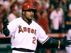ANAHEIM, CA - AUGUST 29:  Erick Aybar #2 of the Los Angeles Angels of Anaheim scores in the fifth inning against the Oakland Athletics at Angel Stadium of Anaheim on August 29, 2014 in Anaheim, California.  (Photo by Lisa Blumenfeld/Getty Images)