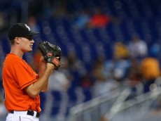 MIAMI, FL - JUNE 29:  Andrew Heaney #25 of the Miami Marlins pitches during a game against the Oakland Athletics at Marlins Park on June 29, 2014 in Miami, Florida.  (Photo by Mike Ehrmann/Getty Images)