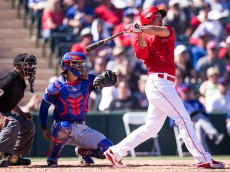 TEMPE, AZ - MARCH 10: Matt Joyce #20 of the Los Angeles Angels bats against the Texas Rangers at Tempe Diablo Stadium on March 10, 2015 in Tempe, Arizona. (Photo by Rob Tringali/Getty Images)