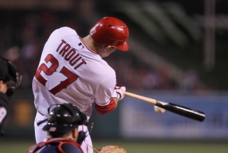 ANAHEIM, CA - APRIL 30:  Mike Trout #27 of the Los Angeles Angels of Anaheim hits a double against the Minnesota Twins in the third inning at Angel Stadium of Anaheim on April 30, 2012 in Anaheim, California.  (Photo by Jeff Gross/Getty Images)