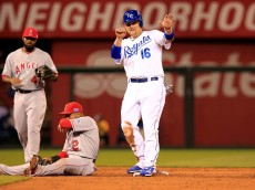 KANSAS CITY, MO - OCTOBER 05:  Billy Butler #16 of the Kansas City Royals reacts after stealing second base against Erick Aybar #2 of the Los Angeles Angels in the third inning during Game Three of the American League Division Series at Kauffman Stadium on October 5, 2014 in Kansas City, Missouri.  (Photo by Jamie Squire/Getty Images)