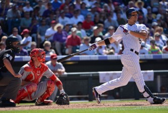 DENVER, CO - JUNE 09:  Carlos Gonzalez #5 of the Colorado Rockies watches his solo homerun off of Dan Haren #24 of the Los Angeles Angels in the fifth inning during Interleague Play at Coors Field on June 9, 2012 in Denver, Colorado. The Angels defeated the Rockies 11-5.  (Photo by Doug Pensinger/Getty Images)
