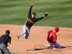 TEMPE, AZ - FEBRUARY 27:  Infielder Kensuke Tanaka #88 of the San Francisco Giants catches the ball as Andrew Romine #7 of the Los Angeles Angels steals second base during the fifth inning of the spring training game at Tempe Diablo Stadium on February 27, 2013 in Tempe, Arizona.  (Photo by Christian Petersen/Getty Images)