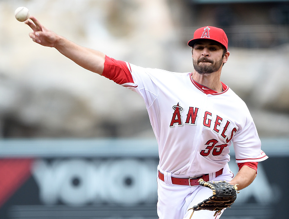ANAHEIM, CA - APRIL 23:  Nick Tropeaano #35 of the Los Angeles Angels pitches during the first inning against the Oakland Athletics at Angel Stadium of Anaheim on April 23, 2015 in Anaheim, California.  (Photo by Harry How/Getty Images)