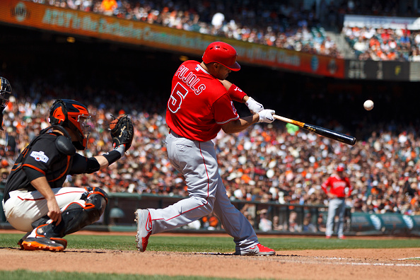 SAN FRANCISCO, CA - MAY 02:  Albert Pujols #5 of the Los Angeles Angels of Anaheim hits a home run against the San Francisco Giants during the seventh inning at AT&T Park on May 2, 2015 in San Francisco, California.  The San Francisco Giants defeated the Los Angeles Angels of Anaheim 5-4. (Photo by Jason O. Watson/Getty Images) *** Local Caption *** Albert Pujols