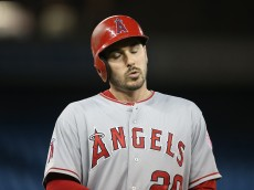 TORONTO, CANADA - MAY 19: Matt Joyce #20 of the Los Angeles Angels of Anaheim reacts after grounding out in the fifth inning during MLB game action against the Toronto Blue Jays on May 19, 2015 at Rogers Centre in Toronto, Ontario, Canada. (Photo by Tom Szczerbowski/Getty Images)