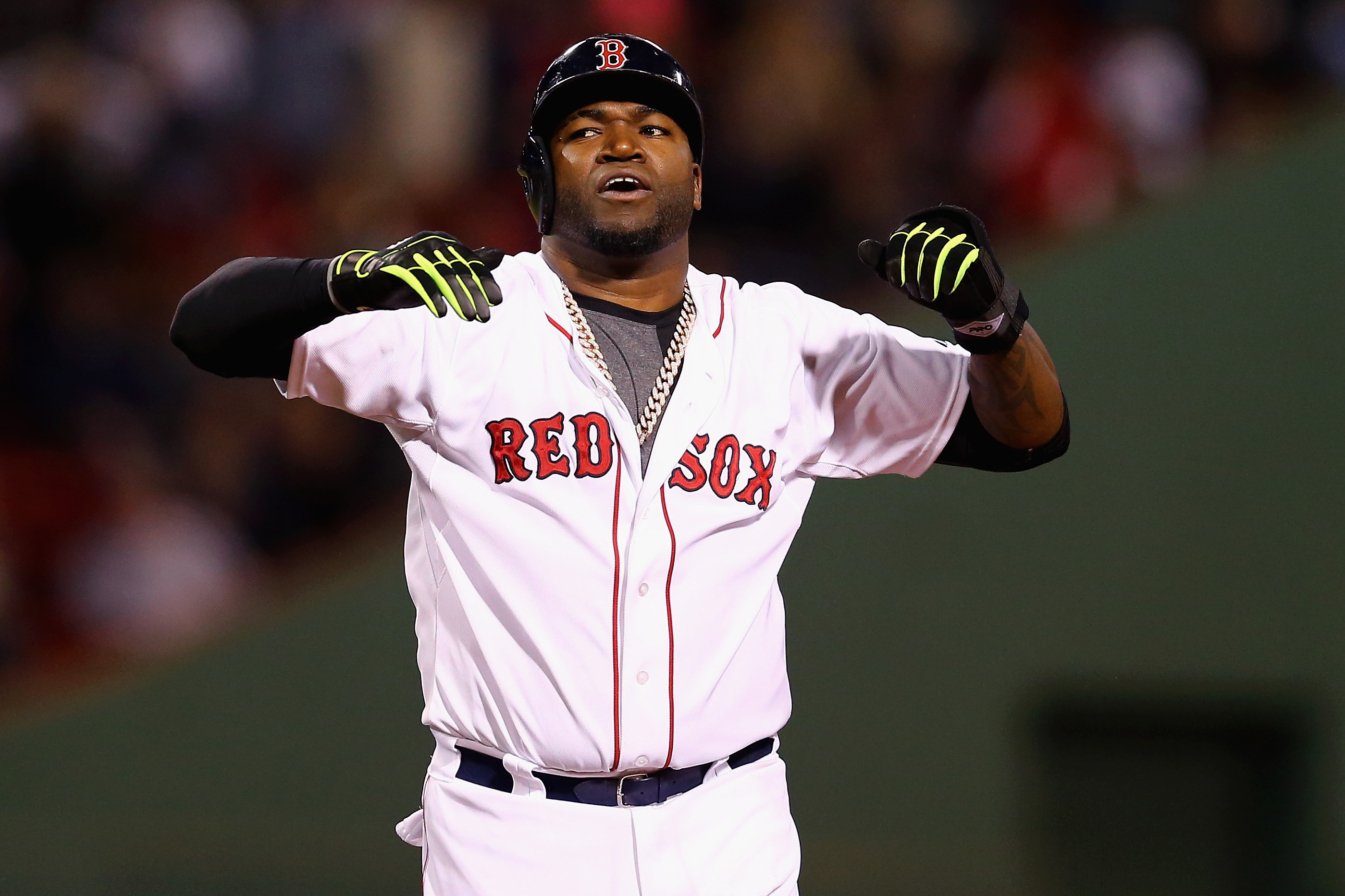 BOSTON, MA - MAY 20:  David Ortiz #34 of the Boston Red Sox reacts after a scoreless seventh inning against the Texas Rangers at Fenway Park on May 20, 2015 in Boston, Massachusetts. The Rangers defeat the Red Sox 2-1.  (Photo by Maddie Meyer/Getty Images)