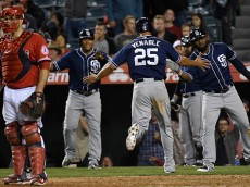 ANAHEIM, CA - MAY 26:  Will Venable #25 of the San Diego Padres scores in the tenth inning against the Los Angeles Angels of Anaheim at Angel Stadium of Anaheim on May 26, 2015 in Anaheim, California.  (Photo by Lisa Blumenfeld/Getty Images)
