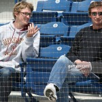 Trevor Gretzky with his dad, the Great One, at a  Pepperdine game.