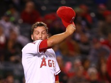 during the MLB game at Angel Stadium of Anaheim on May 7, 2015 in Anaheim, California.