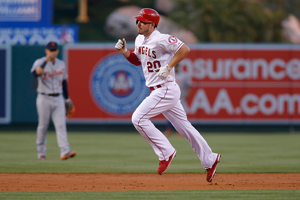 ANAHEIM, CA - MAY 30: Matt Joyce #20 of the Los Angeles Angels rounds the bases after hitting a home run in the second inning against the Detroit Tigers at Angel Stadium of Anaheim on May 30, 2015 in Anaheim, California. (Photo by Joe Scarnici/Getty Images)