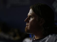 NEW YORK, NY - JUNE 05: Pitcher Jered Weaver #36 of the Los Angeles Angels of Anaheim sits in the dugout after being relieved in the sixth inning against the New York Yankees during a MLB baseball game at Yankee Stadium on June 5, 2015 in the Bronx borough of New York City. (Photo by Rich Schultz/Getty Images)