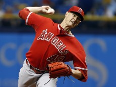ST. PETERSBURG, FL - JUNE 11:  Garrett Richards #43 of the Los Angeles Angels pitches during the first inning of a game against the Tampa Bay Rays on June 11, 2015 at Tropicana Field in St. Petersburg, Florida.  (Photo by Brian Blanco/Getty Images)