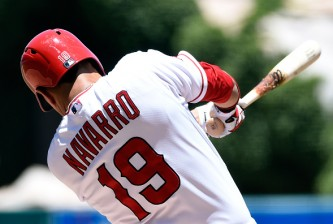 ANAHEIM, CA - JUNE 24:  Efren Navarro #19 of the Los Angeles Angels of Anaheim grounds into a force out in the second inning against the Houston Astros at Angel Stadium of Anaheim on June 24, 2015 in Anaheim, California.  (Photo by Lisa Blumenfeld/Getty Images)