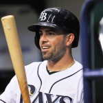 ST. PETERSBURG, FL - SEPTEMBER 19:  Outfielder David DeJesus #7 of the Tampa Bay Rays sets to bat against the Texas Rangers September 19, 2013 at Tropicana Field in St. Petersburg, Florida. (Photo by Al Messerschmidt/Getty Images)