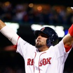 BOSTON, MA - OCTOBER 19:  Shane Victorino #18 of the Boston Red Sox celebrates after hitting a grand slam home run against Jose Veras #31 of the Detroit Tigers in the seventh inning during Game Six of the American League Championship Series at Fenway Park on October 19, 2013 in Boston, Massachusetts.  (Photo by Jared Wickerham/Getty Images)