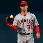 KANSAS CITY, MO - OCTOBER 05: C.J. Wilson #33 of the Los Angeles Angels pitches against the Kansas City Royals in the first inning during Game Three of the American League Division Series at Kauffman Stadium on October 5, 2014 in Kansas City, Missouri.  (Photo by Jamie Squire/Getty Images)
