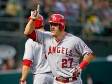 OAKLAND, CA - APRIL 29:  Mike Trout #27 of the Los Angeles Angels of Anaheim celebrates after hitting a home run against the Oakland Athletics during the third inning at O.co Coliseum on April 29, 2015 in Oakland, California. (Photo by Jason O. Watson/Getty Images) *** Local Caption *** Mike Trout