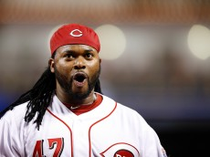 CINCINNATI, OH - MAY 14: Johnny Cueto #47 of the Cincinnati Reds celebrates after getting a double play to end the the seventh inning of the game against the San Francisco Giants at Great American Ball Park on May 14, 2015 in Cincinnati, Ohio. The Reds defeated the Giants 4-3. (Photo by Joe Robbins/Getty Images)