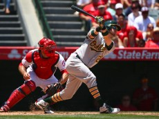 during the MLB game at Angel Stadium of Anaheim on June 14, 2015 in Anaheim, California.