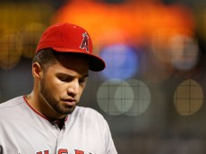 PHOENIX, AZ - JUNE 17:  Starting pitcher Hector Santiago #53 of the Los Angeles Angels walks to the dugout after pitching the second inning of the MLB game against the Arizona Diamondbacks at Chase Field on June 17, 2015 in Phoenix, Arizona.  (Photo by Christian Petersen/Getty Images)
