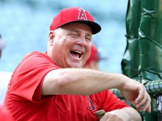 ANAHEIM, CA - JUNE 29:   Manager Mike Scioscia of the Los Angeles Angels of Anaheim laughs during batting practice before the game with the New York Yankees at Angel Stadium of Anaheim on June 29, 2015 in Anaheim, California.  (Photo by Stephen Dunn/Getty Images)