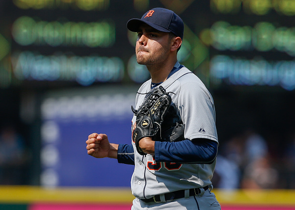 SEATTLE, WA - JULY 08:  Closing pitcher Joakim Soria #38 of the Detroit Tigers reacts after defeating the Seattle Mariners 5-4 at Safeco Field on July 8, 2015 in Seattle, Washington.  (Photo by Otto Greule Jr/Getty Images)