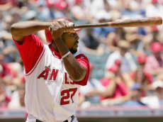 ANAHEIM, CA - JUNE 26:  Vladimir Guerrero #27 of the Los Angeles Angels of Anaheim waits for a pitch from the Los Angeles Dodgers at Angel Stadium on June 26, 2005 in Anaheim, California.  The Angels won 5-3.  (Photo by Stephen Dunn/Getty Images)