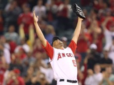 ANAHEIM, CA - SEPTEMBER 11:  Francisco Rodriguez #57 of the Los Angeles Angels of Anaheim celebrates after defeating the Seattle Mariners 7-4 at Angels Stadium September 11, 2008 in Anaheim, California.  Rodriguez ties the MLB single-season save record with 57 saves.  (Photo by Lisa Blumenfeld/Getty Images)