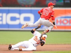 BALTIMORE, MD - MAY 17:  Johnny Giavotella #12 of the Los Angeles Angels forces out Jimmy Paredes #38 of the Baltimore Orioles on a ball hit by Adam Jones #10 (not pictured) in the first inning during a baseball game at Oriole Park at Camden Yards on May 17, 2015 in Baltimore, Maryland.  (Photo by Mitchell Layton/Getty Images)