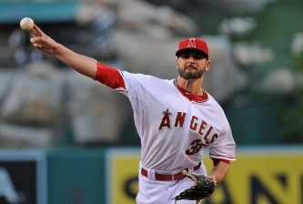 ANAHEIM, CA - JULY 24:  Nick Tropeano #35 of the Los Angeles Angels of Anaheim pitches to the the Texas Rangers in the first inning during a game at Angel Stadium of Anaheim on July 24, 2015 in Anaheim, California.  (Photo by Jonathan Moore/Getty Images)