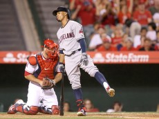 ANAHEIM, CA - AUGUST 04:  Francisco Lindor #12 of the Cleveland Indians reacts after striking out swinging for the third out of the fifth inning leaving the bases loaded against the Los Angeles Angels of Anaheim at Angel Stadium of Anaheim on August 4, 2015 in Anaheim, California.  (Photo by Stephen Dunn/Getty Images)
