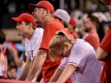 ANAHEIM, CA - OCTOBER 03: Los Angeles Angels fans look on in the eleventh inning against the Kansas City Royals during Game Two of the American League Division Series at Angel Stadium of Anaheim on October 3, 2014 in Anaheim, California.  (Photo by Denis Poroy/Getty Images)