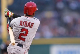DETROIT, MI - APRIL 18:  Erick Aybar #2 of the Los Angeles Angels of Anaheim bats during the sixth inning of the game against the Detroit Tigers at Comerica Park on April 18, 2014 in Detroit, Michigan. The Angels defeated the Tigers 11-6.  (Photo by Leon Halip/Getty Images)