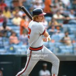 BALTIMORE, MD - CIRCA 1979:  Carney Lansford #12 of the California Angles bats against the Baltimore Orioles during an Major League Baseball game circa 1979 at Memorial Stadium in Baltimore, Maryland. Lansford played for the Angels from 1978-80.  (Photo by Focus on Sport/Getty Images) *** Local Caption *** Carney Lansford