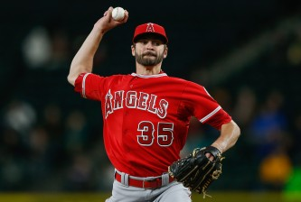 SEATTLE, WA - SEPTEMBER 15:  Starter Nick Tropeano #35 of the Los Angeles Angels of Anaheim pitches in the fifth inning against the Seattle Mariners at Safeco Field on September 15, 2015 in Seattle, Washington.  (Photo by Otto Greule Jr/Getty Images)
