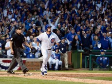 during game four of the National League Division Series at Wrigley Field on October 13, 2015 in Chicago, Illinois.