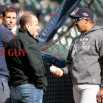 during game four of the American League Championship Series at Comerica Park on October 18, 2012 in Detroit, Michigan.