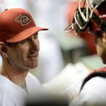 PHOENIX, AZ - AUGUST 30:  Pitching coach Charles Nagy of the Arizona Diamondbacks talks with catcher Miguel Montero #26 in the dugout during the game against the San Francisco Giants at Chase Field on August 30, 2013 in Phoenix, Arizona. The Giants defeated the Diamondbacks 1-0.  (Photo by Jennifer Stewart/Getty Images)