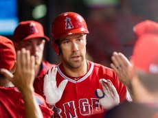 CLEVELAND, OH - AUGUST 29: David Murphy #19 of the Los Angeles Angels of Anaheim celebrates after hitting a solo home run during the fourth inning against the Cleveland Indians at Progressive Field on August 29, 2015 in Cleveland, Ohio. (Photo by Jason Miller/Getty Images)