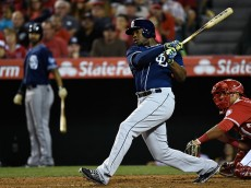 ANAHEIM, CA - MAY 27:  Justin Upton #10 of the San Diego Padres hits an RBI single in the seventh inning against the Los Angeles Angels of Anaheim at Angel Stadium of Anaheim on May 27, 2015 in Anaheim, California.  (Photo by Lisa Blumenfeld/Getty Images)