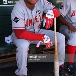 OAKLAND, CA - JULY 19:  Bobby Abreu #53 of the Los Angeles Angels of Anaheim gets ready in the dugout before the game against the Oakland Athletics at the Oakland-Alameda County Coliseum on July 19, 2009 in Oakland, California. (Photo by Brad Mangin/MLB Photos via Getty Images) *** Local Caption *** Bobby Abreu