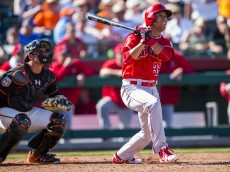 SCOTTSDALE, AZ - MARCH 2:  Rafael Ortega #39 of the Los Angeles Angels of Anaheim bats during a spring training against the San Francisco Giants at Scottsdale Stadium on March 2, 2016 in Scottsdale, Arizona. (Photo by Rob Tringali/Getty Images)