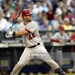 SEATTLE - JULY 3:  Catcher Mike Napoli #44 of the Los Angeles Angels of Anaheim swings at a Seattle Mariners pitch during the game on July 3, 2006 at Safeco Field in Seattle Washington. The Angeles won 7-3.  (Photo by Otto Greule Jr/Getty Images) *** Local Caption *** Mike Napoli