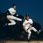 UNITED STATES - FEBRUARY 26:  Baseball: Portrait of California Angles J,T, Snow and Tim Salmon, Tempe, AZ 2/26/1993  (Photo by V.J. Lovero/Sports Illustrated/Getty Images)  (SetNumber: X44035)