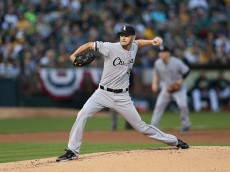 OAKLAND, CA - APRIL 04:  Chris Sale #49 of the Chicago White Sox pitches against the Oakland Athletics on Opening Day at The Coliseum on April 4, 2016 in Oakland, California.  (Photo by Ezra Shaw/Getty Images)