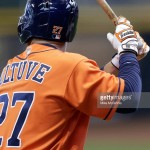 MILWAUKEE, WI - APRIL 09: Jose Altuve of the Houston Astros in his Franklin batting gloves gets ready for the next pitch the Milwaukee Brewers at Miller Park on April 09, 2016 in Milwaukee, Wisconsin. (Photo by Mike McGinnis/Getty Images)  *** Local Caption *** Jose Altuve