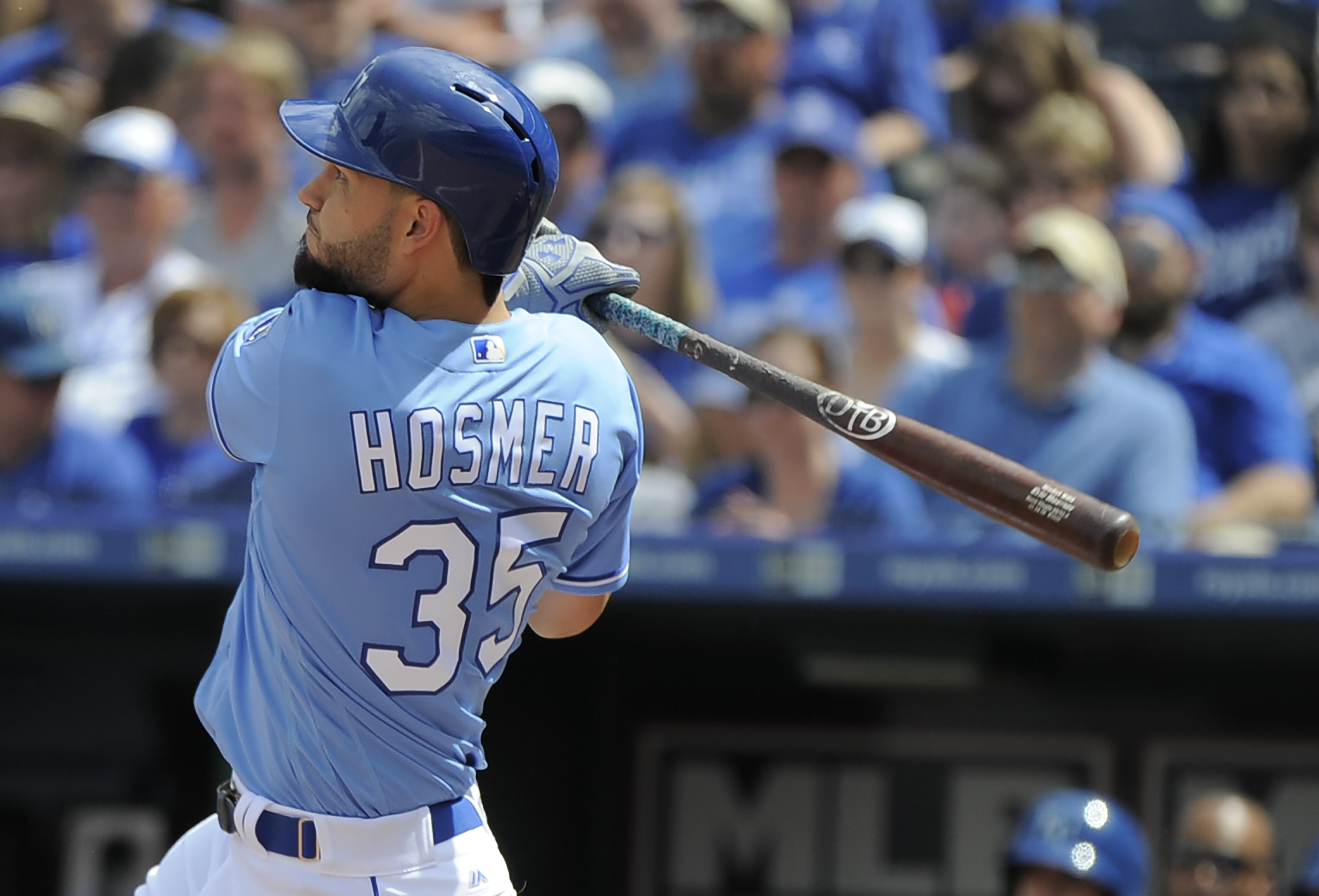 KANSAS CITY, MO - APRIL 24:  Eric Hosmer #35 of the Kansas City Royals hits a home run in the sixth inning against the Baltimore Orioles at Kauffman Stadium on April 24, 2016 in Kansas City, Missouri. (Photo by Ed Zurga/Getty Images)