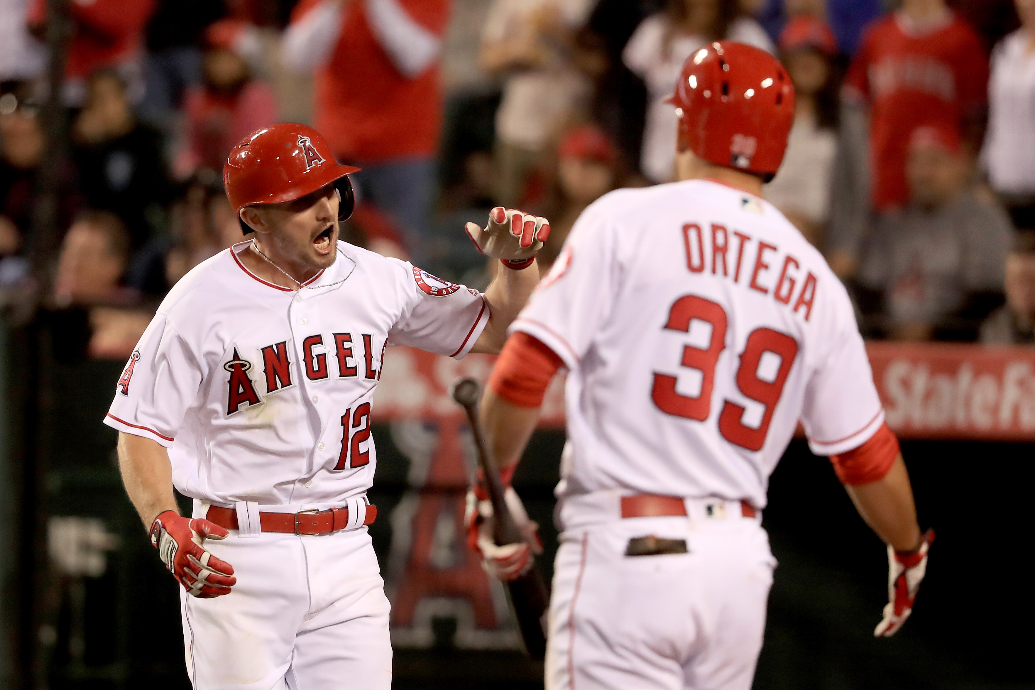 during the  inning of a baseball game between the Los Angeles Angels of Anaheim and the Kansas City Royals at Angel Stadium of Anaheim on April 26, 2016 in Anaheim, California. (Photo by Sean M. Haffey/Getty Images)